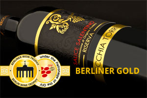 Gold for an oak-aged Salento Red Wine from Vecchia Torre